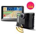 7 дюймов Android 4.4 Автомобильный ВИДЕОРЕГИСТРАТОР Камера Full HD 1080 P 16 ГБ GPS Навигация, Радар-Детектор Wi-Fi Автомобилей Грузовик Автомобиль GPS Навигатор Автомобильный Видеорегистратор