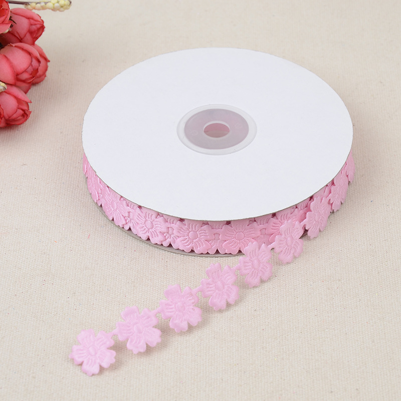 DIY Clothing Accessories Gift Box Packaging Ribbon Cute Little Petal Embossed Silk 2 5cm Belt Factory Direct Wholesal Material in Webbing from Home Garden