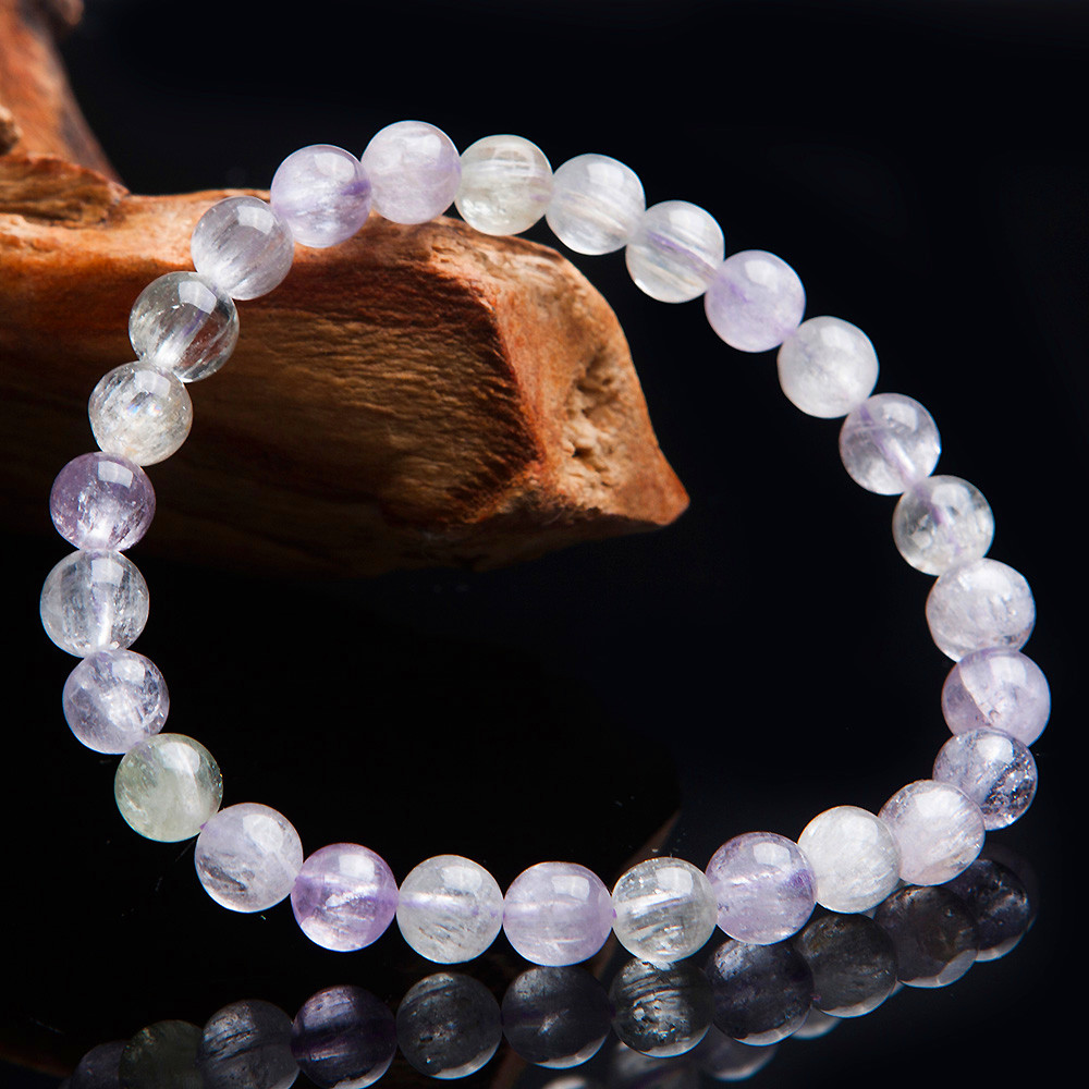 6.5mm Natural Genuine Coloful Kunzite Quartz Crystal Round Beads Jewelry Stretch Charm Bracelets For Women Just One