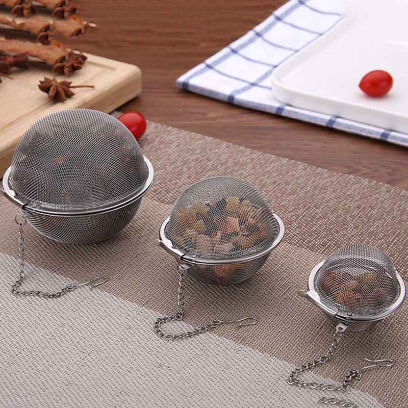 Stainless Steel Tea Strainer Mesh Infuser Tea Filter Net Infusor Round With Chain For Leaf Stretch Herbal Flowers