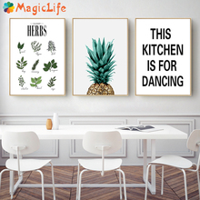 Herbs Botanical Kitchen Wall Art Canvas Painting Nordic Poster Black and White Letters Quotes Decorations Wall Pictures Unframed