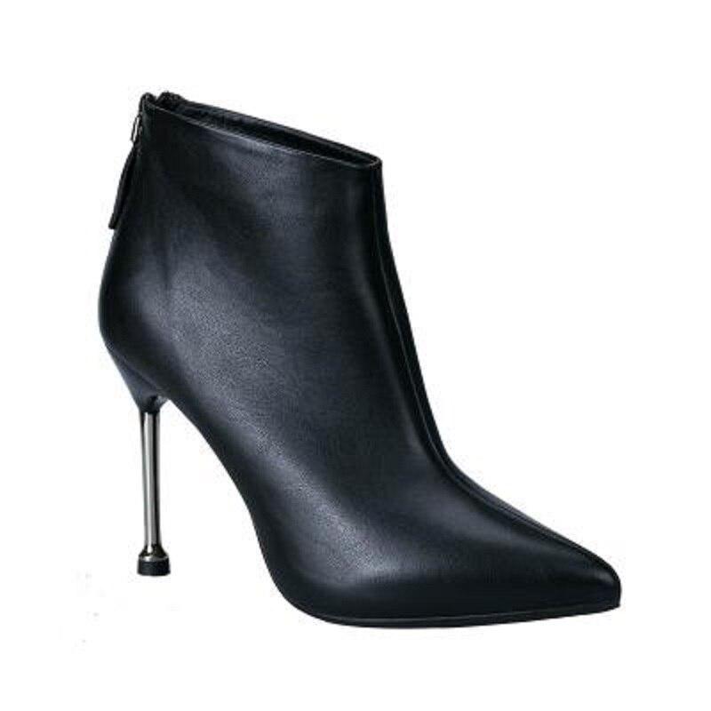 Chaussures noir Fine Beige Nouvelle Sauvage Et Talons Femmes À Pointu 2018 Sexy D'hiver Bottes Avec Automne Hauts De wEa7qTv
