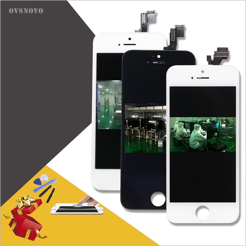 Ovsnovo Schermo LCD per iPhone 4 5 5c 5 s 6 Display tocco di Vetro Sostituzione Digitzer Check & Prova Uno per uno + strumenti + vetro temperato