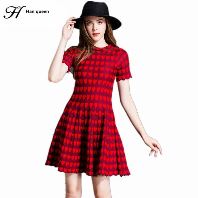 H хан королева платье с коротким рукавом женщины платья весна трехмерная модель любовь трикотажные тонкий урожай элегантный casual dress