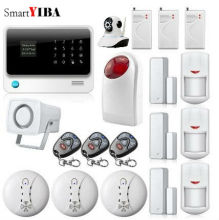 SmartYIBA Wifi GSM IOS/Android APP Control GSM GPRS Alarm System Smart Anti-theft Shock Sensor Smoke Alarm IP Camera Alarm Kit