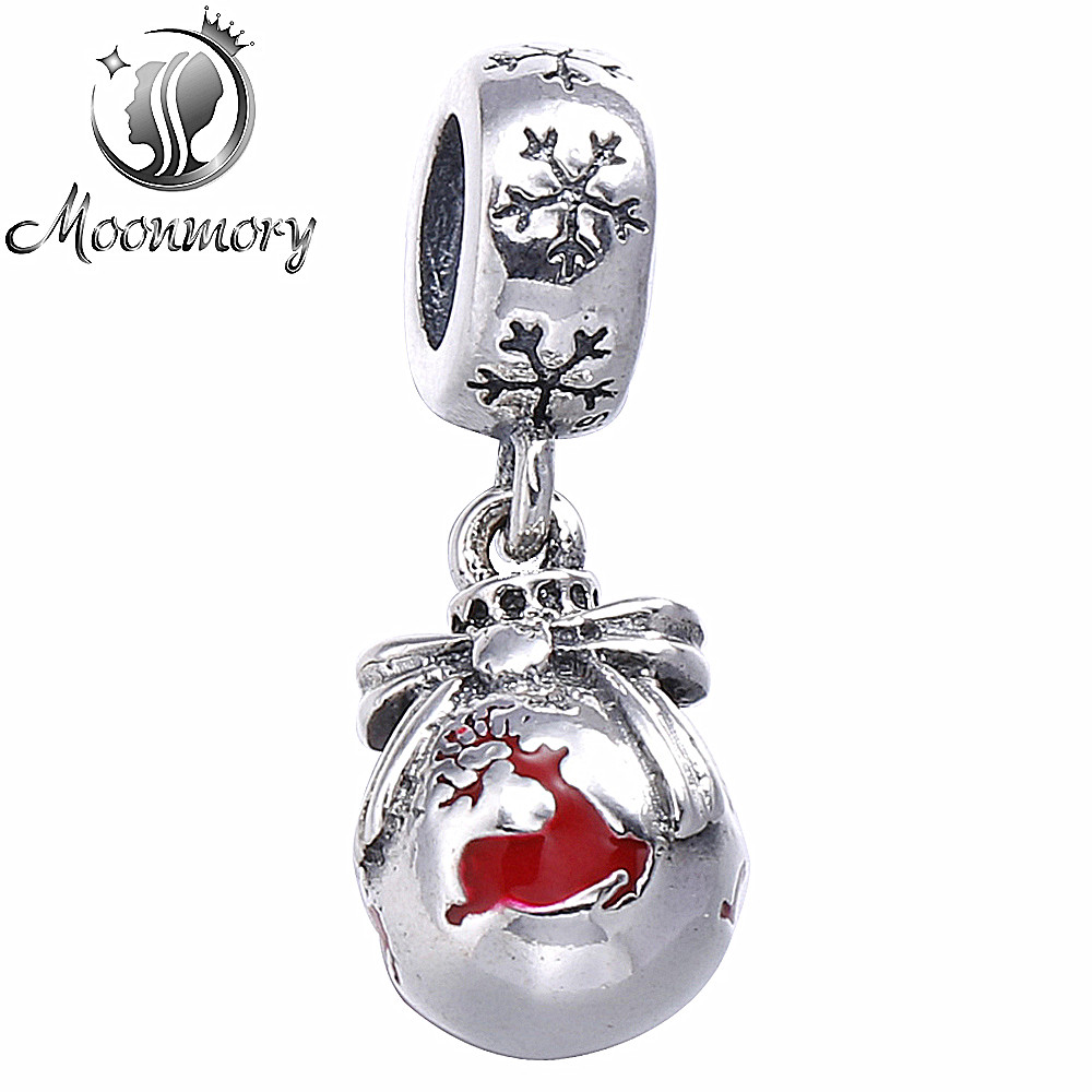 Diy Fit Bracelet Authentic 925 Sterling Silver Christmas Ornament Dangle  Charm Bead With Red Enamel For Jewelry Making Wholesale