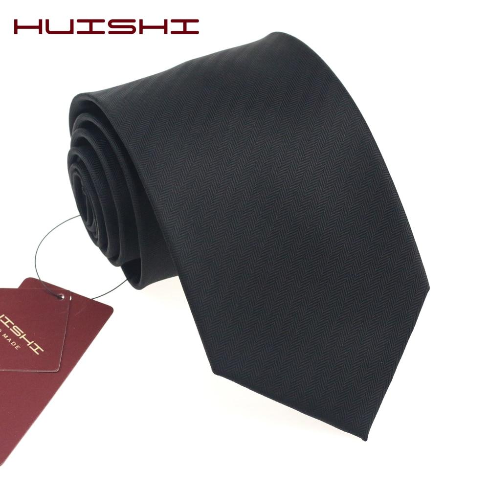 HUISHI New Formal Black Ties Slim For Men Classic Polyester Waterproof Plaid Stripe Neckties 8 6CM Wedding Business Male Gravata
