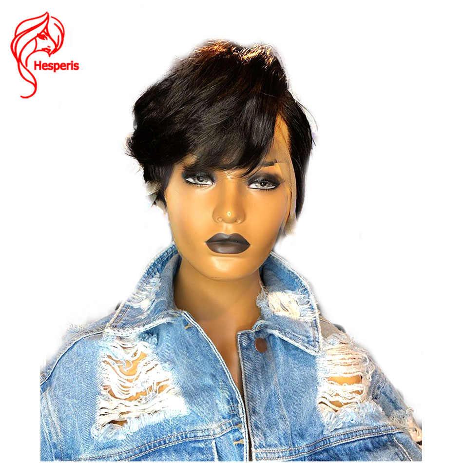 Hesperis Pixie Cut парик предварительно выщипанные 13x6 короткие парики из человеческих волос бразильский Remy Боб Кружева передние парики для женщин короткие парики