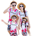 Fashion holiday summer style family matching clothes t shirt+shorts flower print family set for dad mom and daughter son AF1616