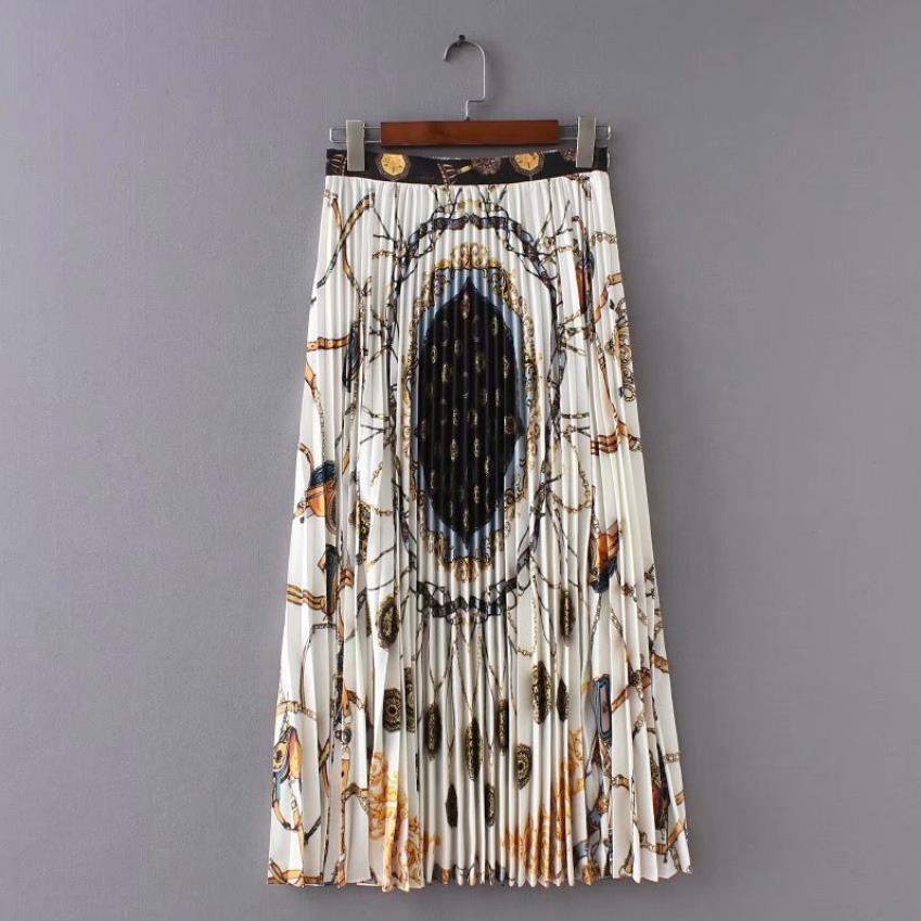0f2632710 Versión coreana de gama alta patrón geométrico Falda plisada moda femenina  verano nueva cintura ...