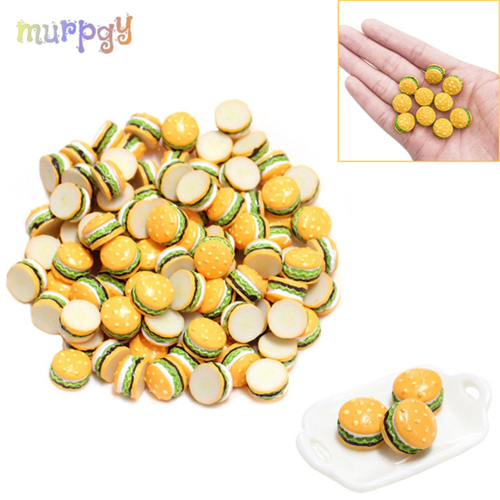 5Pcs Mini Hamburger Supplement Charms Filler Addition For Slime DIY Polymer Accessories Toy Lizun Modeling Clay Kit For Kids