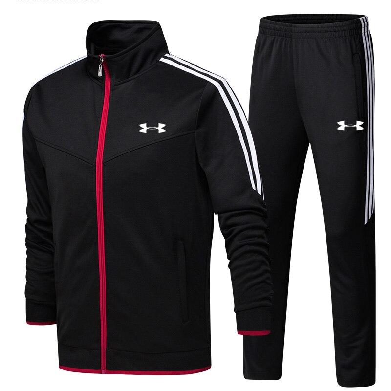 2019 Under Armour hommes veste d'entraînement veste + pantalon survetement homme formation course ensembles sport costumes 2 pièces de haute qualité - 2