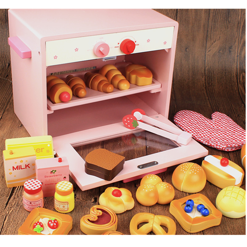 Wooden Toy Prepare & Serve Bread Set Child Oven Toaster Play Food Toy Kids Pretend Play Kitchen Toys gift