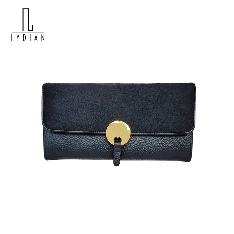 Lydian New Genuine Leather Wallets Europe Long Women Wallet Fur Purse Horse Hair Winter Luxury Brand Clutch Bag Famous Designer new arrival women wallets famous designer brand zipper wallet ladies purse owl stereoscopic printing rounded clutch bag