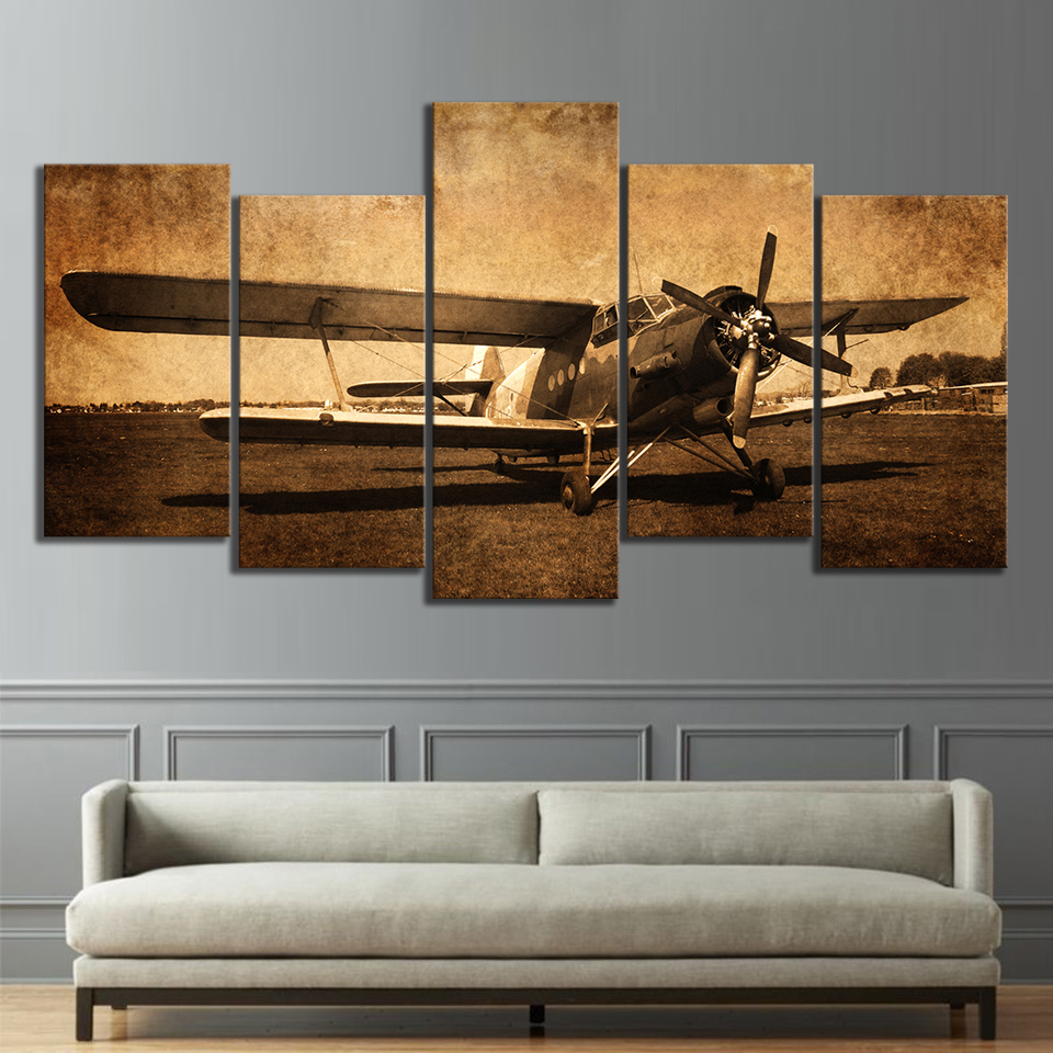 5 Piece Canvas Prints Vintage Aircraft Art Old Plane