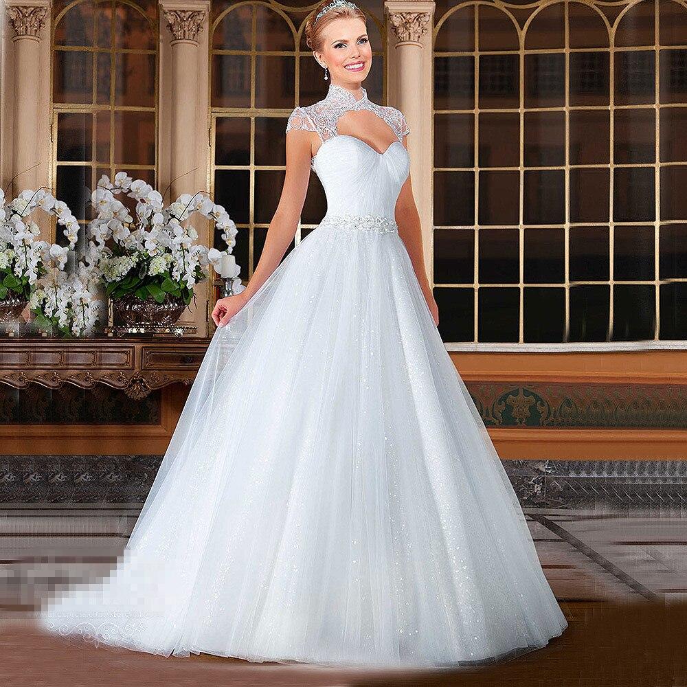 Ball Gown Vestido De Noiva High Neck Cap Sleeve Appliques Beaded Sequins Bride Dresses Cheap Custom Backless Wedding Dress 2016