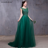 La estrella dwedding guest dress Cheap Scoop neck tulle beaded cap sleeves a Line Dark green bridesmaid gowns trailing plus size