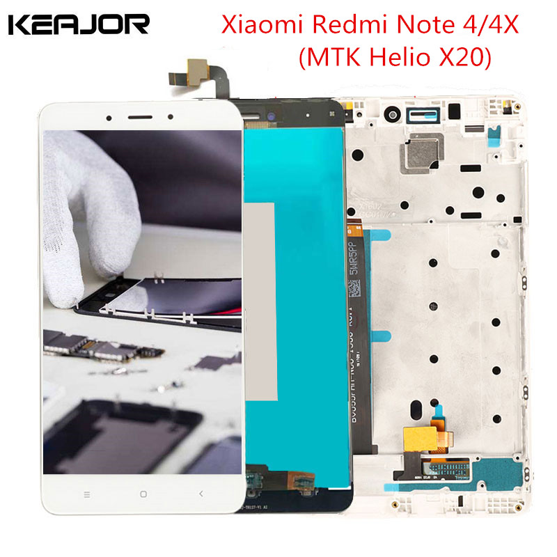 Redmi Nota 4 Screen Display LCD Helio X20 Testato AAA Touch Screen con Frame per Xiaomi Redmi Nota 4X Pro Prime MTK Helio X20