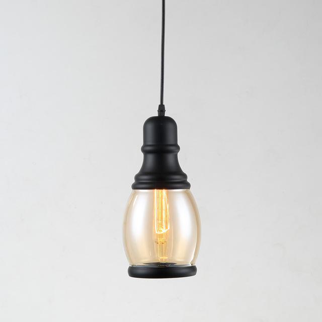 Loft Lamp Glass Pendant Lights Fixtures Dining Room Kitchen Indoor Decoration Home Lighting Black Iron E27 Edison Bulbs 220V