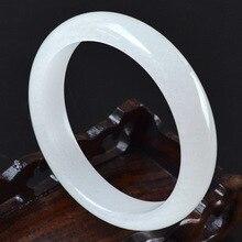 60-63 мм внутренний диаметр высокого качества натуральный белый браслет с нефритом драгоценный камень нефрит браслет ювелирные изделия для женщин Подарки