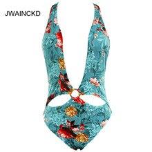 Купить с кэшбэком JWAINCKD Floral Print Swimsuit Female Push Up Deep V Bikinis Swimwear Women Backless Sexy Bikini Blue Bathing Suit Bandage Cross