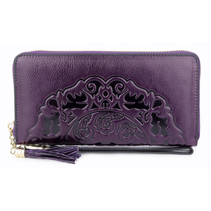 New Arrivals Long Vintage Genuine Leather Wallets Multi-Card Bit Card Wallet 2019 Large Capacity Embossing Women Zipper Purses(China)