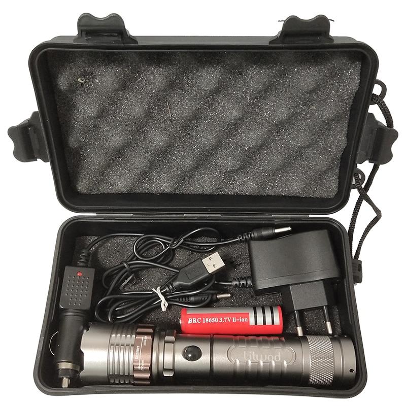 Z892622 8000lm T6 LED lampe de Poche Torche Rechargeable Lanterne Chasse lampe avec chargeur + batterie + boîte à outils de poche auto-défense