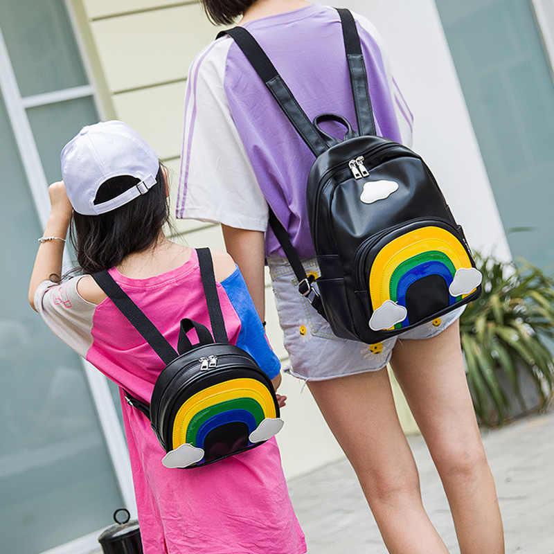 Winmax 2 Pcs/set Mini Anak-anak Sekolah Ransel Rainbow Warna Rucksack Girls Zipper Ibu dan Anak Tas Bahu Ganda