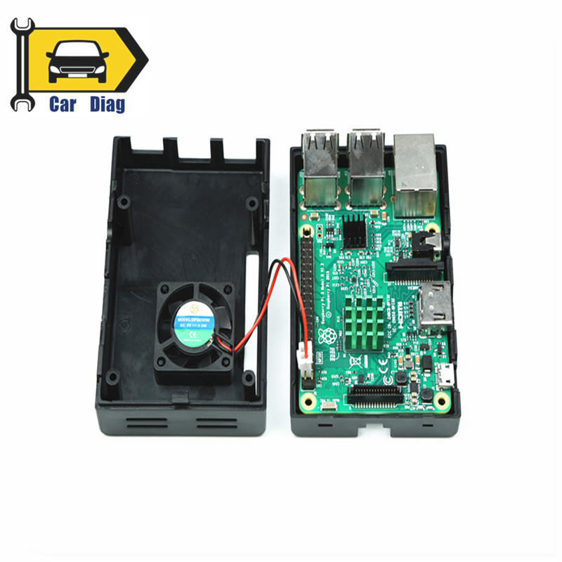 Black ABS Case Enclosure Box with Cooling Fan Heat Sink Kit for Raspberry Pi 3