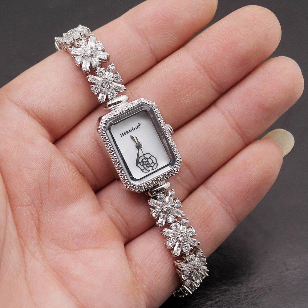 Women Quartz Wristwatch Sterling Silver Natural Whitetopaz Rectangle Watch Lady Bracelet Nice Jewelry 8 Inches FREE