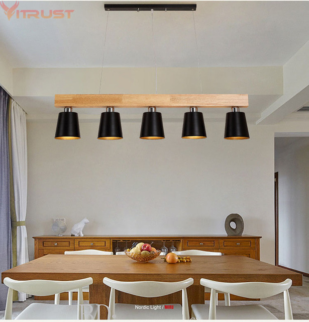 Vitrust Wood Pendant Lightings Nordic Hanglamps Living Room Dining Ceiling Lampadari Home Bedroom Office Black