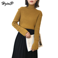 HziriP 2018 Hot Spring Turtleneck Knitted Pullover 7 Colors Sweater Women Soft Jumper Solid Pull Femme
