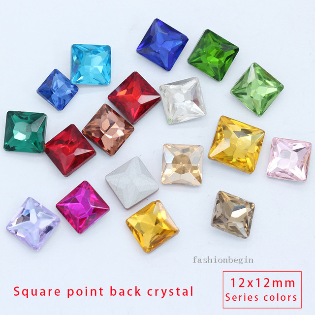 30p 12mm square color pointed foiled back faceted strass glass crystal  rhinestones jewelry beads craft for DIY Clothes shoes bag ee7b6b08fab5