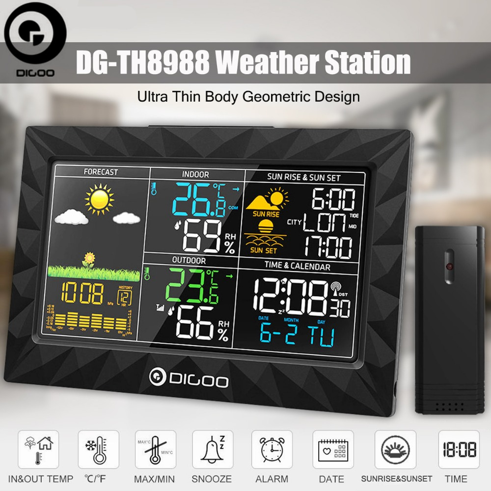 DIGOO DG TH8988 Weather Station Sunrise Sunset Display Outdoor Indoor Thermometer Hygrometer Temperature Humidity Remote Sensor