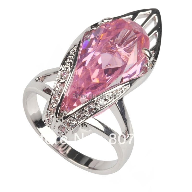 Romantic Classic pink Cubic Zirconia Silver Plated Free shipping Recommend Casual ring R136 sz 6 7