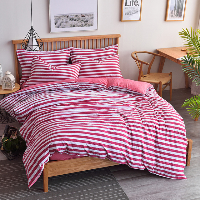 2018 Spring 100% Cotton Bedding Set Stripe Style Summer Duvet Cover Set  Pastoral Grid Bed