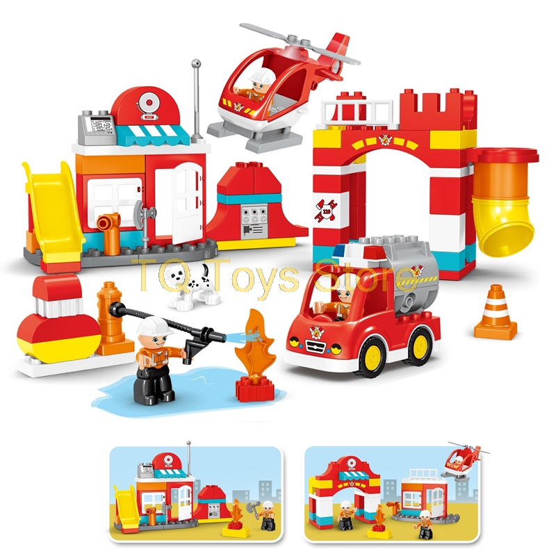 90PCS Big Blocks City Fire department Firemen Building Blocks set Kids DIY Brick Creative Toys for Kids Compatible legoing Duplo gorock 109pcs big blocks city fire department firemen building blocks set kids diy bricks creative toys compatible with duploe
