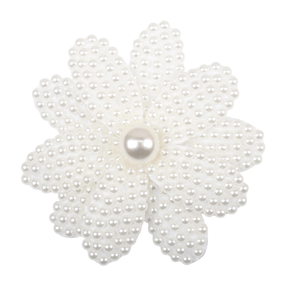 New White Rhinestone Girl Kid Pearl Hair Bow Alligator Hair Clip Bead Hairgrip