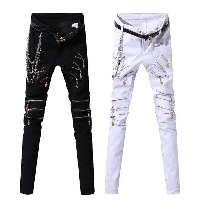 22d9a70c biker jeans Men Zipper Punk Harajuku Holes Pencil Pants Chain Skinny Ripped  Jeans For Men Denim