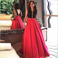 Long Prom Dresses Ball Gowns satin Evening dresses with beads farmal party Dresses vestidos de festa 2016 wedding party dresses