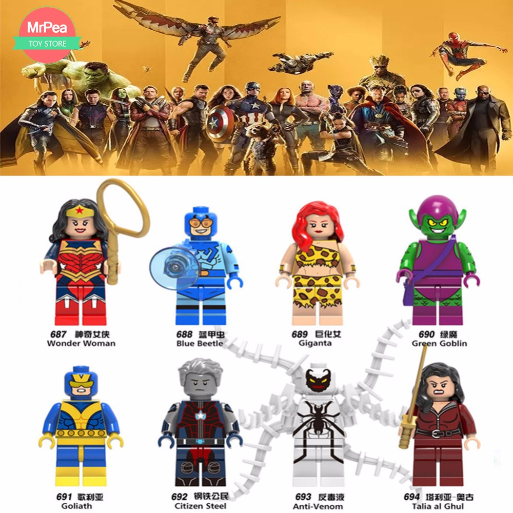For legoing Marvel 10th anniversary Super Heroes Avengers Guardians of the Galaxy ThanosSpiderMan DC Building Blocks Toys Figure