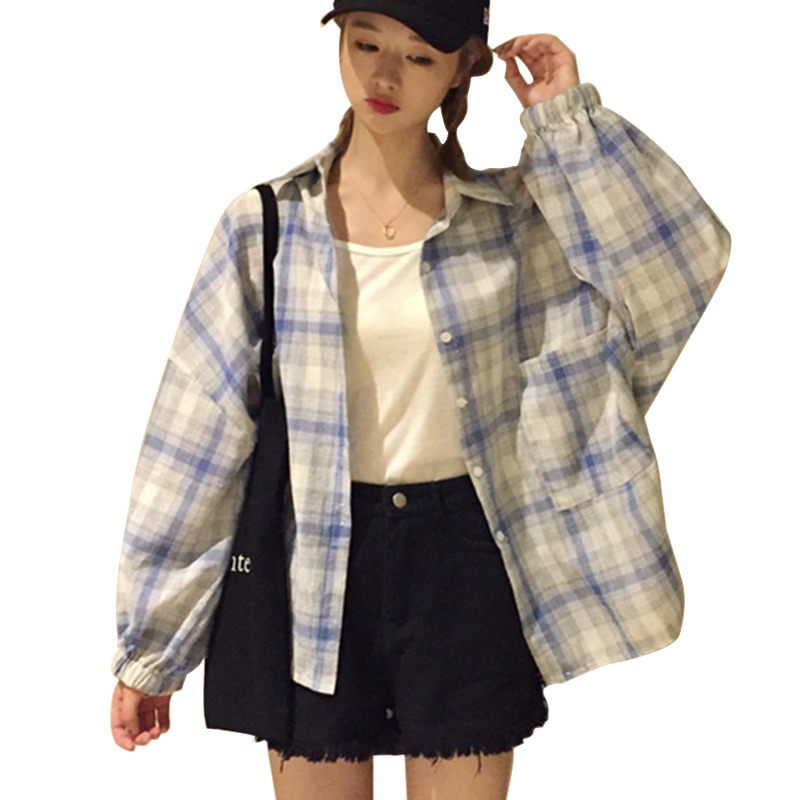 B Korean Style Women Fashion Lantern Long Sleeve Plaid Pockets   Blouses     Shirts   Female Casual Loose   Blouse   womens Tops and   blouses