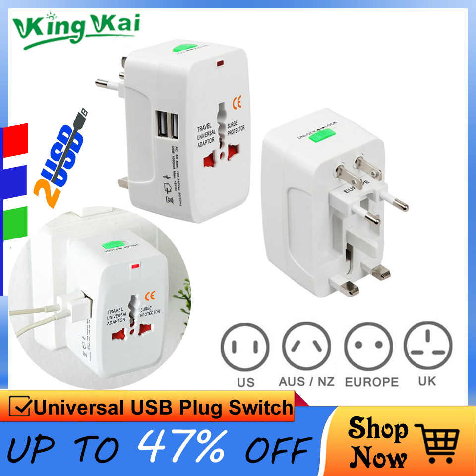 2 แจ็ค USB Universal ปลั๊กไฟฟ้า Power Socket Travel Adapter All In One AC Power Converter Adapter
