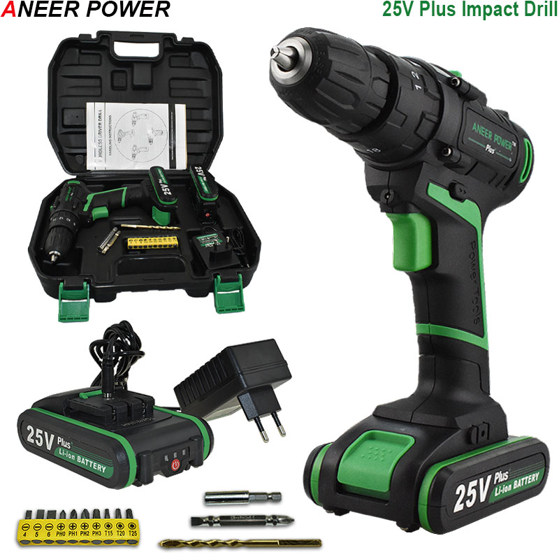 25V Battery Impact Drill Home DIY Station Electric Hammer Drill Multifuctional Electric Cordless Drill Electric Screwdriver цена