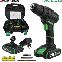 25V Battery Impact Drill Home DIY Station Electric Hammer Multifuctional Cordless Screwdriver