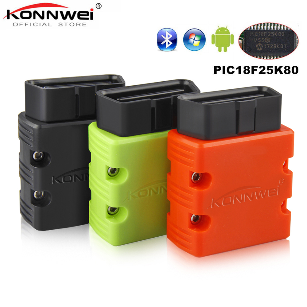 KONNWEI Elm327 V1.5 Bluetooth KW902 OBD2 Elm 327 V 1.5 OBD 2 Car Diagnostic-Tool Scanner V1.5 Chip PIC18F25K80 ELM327 on Android