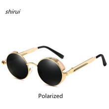 Retro Round Metal Steampunk Sunglasses Men Women Fashion Glasses Brand Designer Vintage Sunglasses High Quality PolarizedEyewear high quality light round walnut wood sunglasses with metal nose bridge and temples