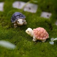 XBJ015 Miniatuur Decoratie 2 stks Cartoon Ambachten Tuin Schildpad Ornament Hars Decor Terrarium Beeldjes Micro Landschap