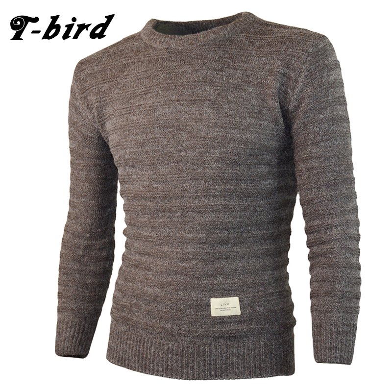 T-Bird 2017 Fashion Brand Clothing Men Sweater Simple O-Neck Slim Fit Casual Pullover Men Sweaters Knitting Mens Patch M-XXL bird patch purse