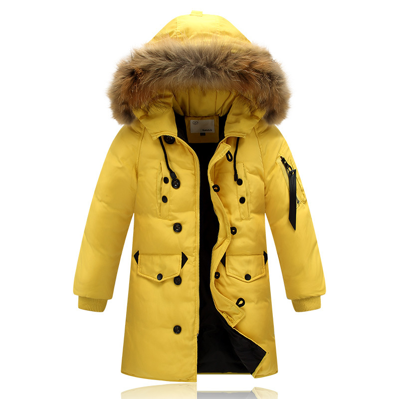 Boys and Girls Winter Down Jacket Coat Kids Long Parka Fur Hooded Thick Warm Children White Duck Down Outerwear Coats 2016 New hh kids winter jacket thick duck down boy natural hair collar hooded long coat girl parkas russia jacket children outerwear